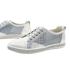 White openwork eco-leather sneakers A18-6252 blue silver 1