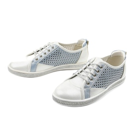 White openwork eco-leather sneakers A18-6252 blue silver 2