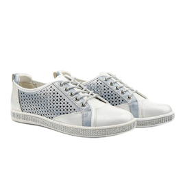 White openwork eco-leather sneakers A18-6252 blue silver 3