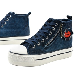 Dane's navy lace-up wedge sneakers navy blue 1