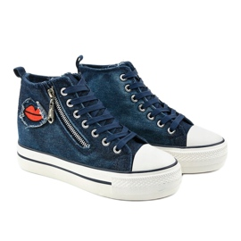 Dane's navy lace-up wedge sneakers navy blue 3
