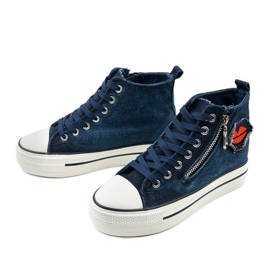 Dane's navy lace-up wedge sneakers navy blue 2