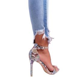 Lu Boo Snake Beige Ramann Women's Sandals multicolored 2