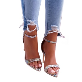 Lu Boo Snake Beige Ramann Women's Sandals multicolored 1