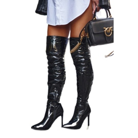 SEA Women's Boots On High Heel Latex Black Bite Me! 1