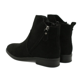 Evento Black suede ankle boots with zippers 4