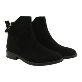 Evento Black suede ankle boots with zippers 5