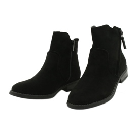 Evento Black suede ankle boots with zippers 2