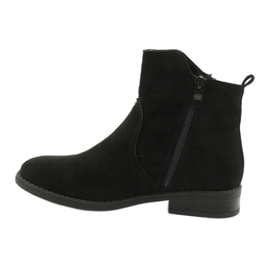 Evento Black suede ankle boots with zippers 1