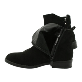Evento Black suede ankle boots with zippers 3