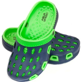 Aqua-speed Silvi col 48 green and navy blue slippers for children 1