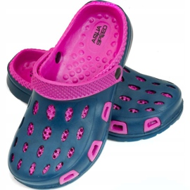 Aqua-speed Silvi children's pool slippers, col 49, pink and navy blue 1