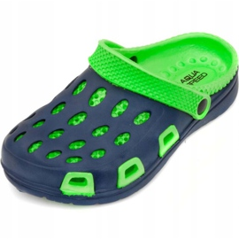 Aqua-speed Silvi col 48 green and navy blue slippers for children 2