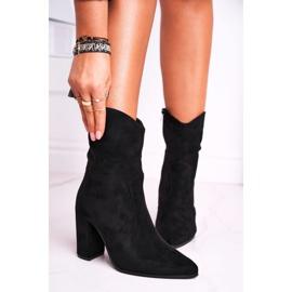 Ideal Women's Boots On High Heel Eco-Suede Black Ecstasy 4