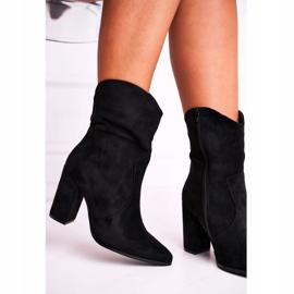Ideal Women's Boots On High Heel Eco-Suede Black Ecstasy 1