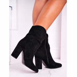 Ideal Women's Boots On High Heel Eco-Suede Black Ecstasy 3