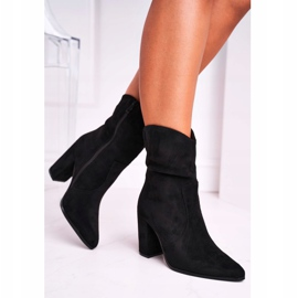 Ideal Women's Boots On High Heel Eco-Suede Black Ecstasy 5
