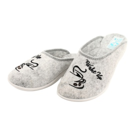 Felt Slippers Wake Up Adanex 25642 Gray black grey 3