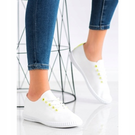 SHELOVET Light Sneakers With Eco Leather white yellow 3