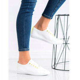 SHELOVET Light Sneakers With Eco Leather white yellow 2