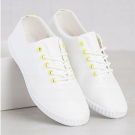 SHELOVET Light Sneakers With Eco Leather white yellow 1