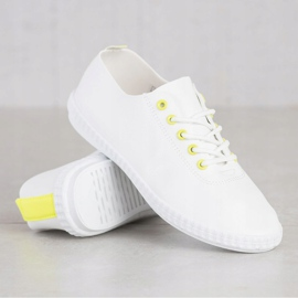 SHELOVET Light Sneakers With Eco Leather white yellow 4