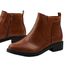 Camel flat ankle boots with an eco-leather Merriva brown 1