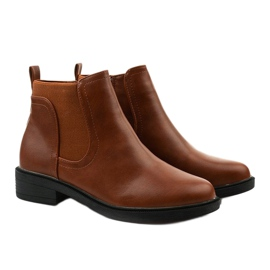 Camel flat ankle boots with an eco-leather Merriva brown 3