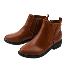 Camel flat ankle boots with an eco-leather Merriva brown 2