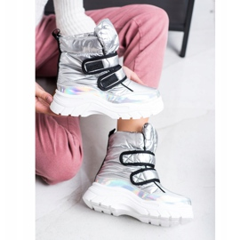 SHELOVET Shiny Snow Boots With Velcro silver 2