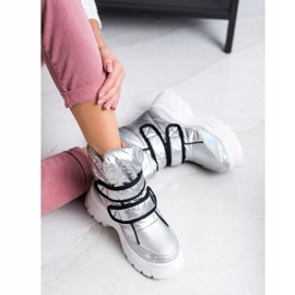 SHELOVET Shiny Snow Boots With Velcro silver 3