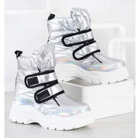 SHELOVET Shiny Snow Boots With Velcro silver 1