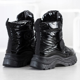 SHELOVET Shiny Snow Boots With Velcro black 3
