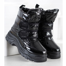 SHELOVET Shiny Snow Boots With Velcro black 4