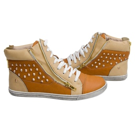 High Sneakers With Studs Y299 Camel beige brown 1