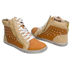 High Sneakers With Studs Y299 Camel beige brown 2