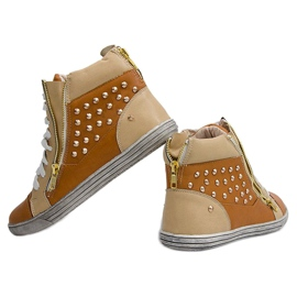High Sneakers With Studs Y299 Camel beige brown 3