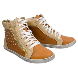 High Sneakers With Studs Y299 Camel beige brown 4