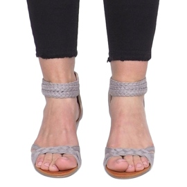 Gray sandals on a delicate wedge C7113-2 grey 1