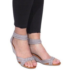 Gray sandals on a delicate wedge C7113-2 grey 3