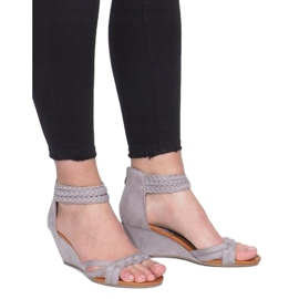 Gray sandals on a delicate wedge C7113-2 grey 2