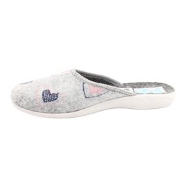 Gray Felt Slippers hearts Adanex 19255 gray pink grey 1