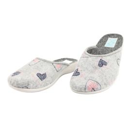 Gray Felt Slippers hearts Adanex 19255 gray pink grey 2