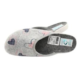 Gray Felt Slippers hearts Adanex 19255 gray pink grey 4