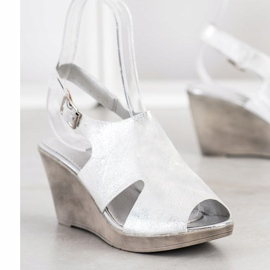 SHELOVET Silver Wedge Sandals 1