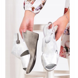 SHELOVET Silver Wedge Sandals 2