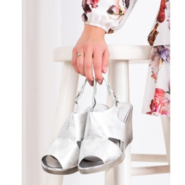 SHELOVET Silver Wedge Sandals 3