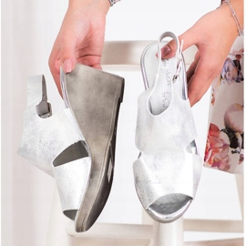 SHELOVET Silver Wedge Sandals 4