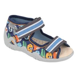 Befado yellow children's shoes 350P013 navy blue orange grey 1