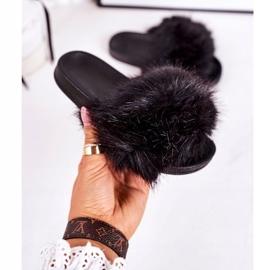 Children's Black Fashionista Fur Slippers 4